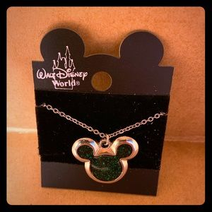 Vintage Disney Sparkle Green Mickey Mouse Necklace